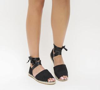 sandale negre piele eco intoarsa fara toc cu snur lat