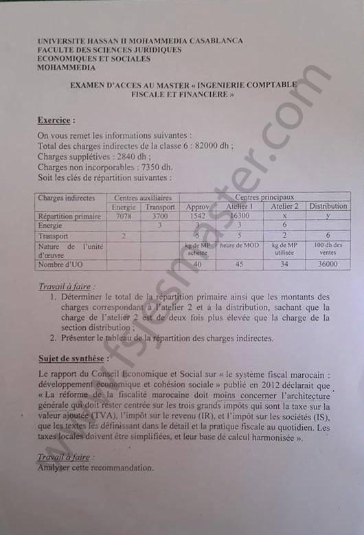 Exemple Concours Master Ingénierie Comptable Fiscale et Financière - Fsjes Mohammedia