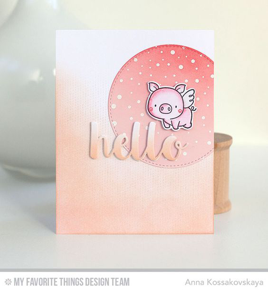 Handmade card from Anna Kossakovskaya  featuring Birdie Brown Hog Heaven stamp set and Die-namics, Scattered Surface Background stamp, and Inside & Out Stitched Circle STAX and Hello There Die-namics #mftstamps