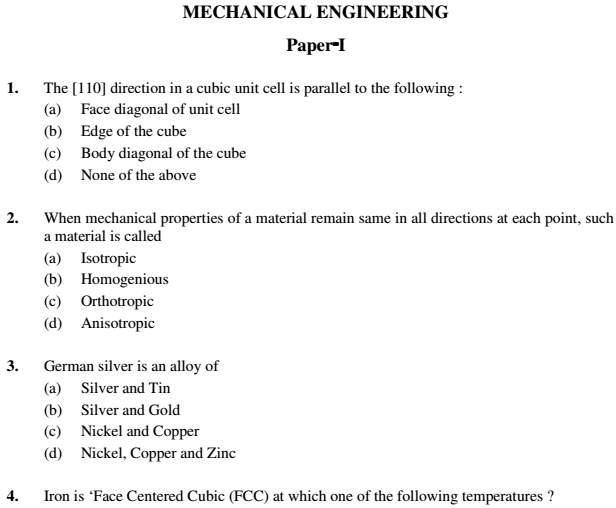 Mechanical Engineering Paper 1 English Hindi Previous Question ...