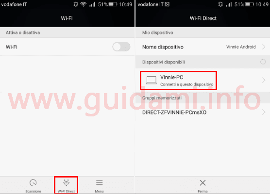 Android  connettere a PC in WiFi Direct