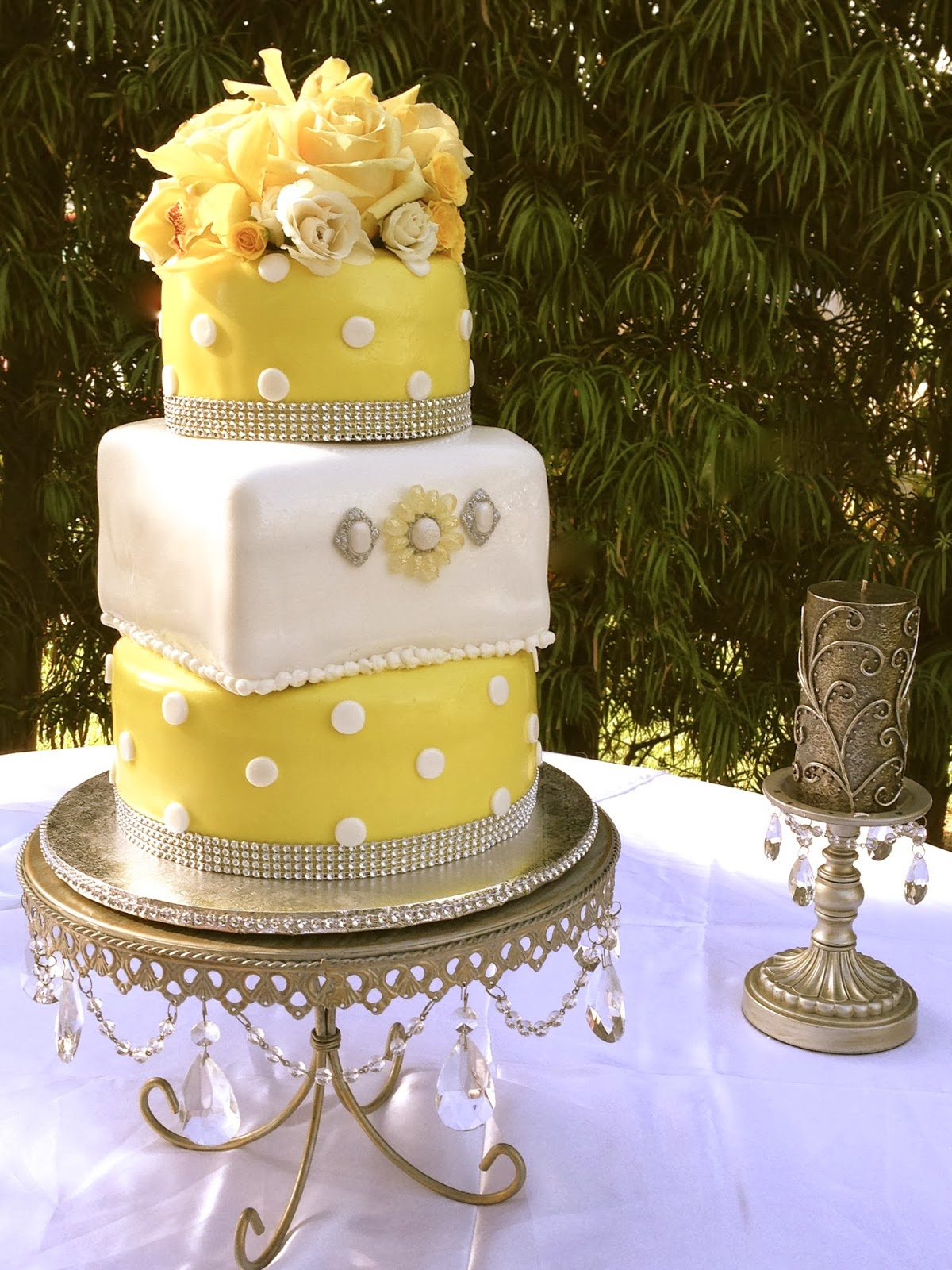 Plumeria Cake Studio Yellow Polka Dot Wedding Cake And Treats