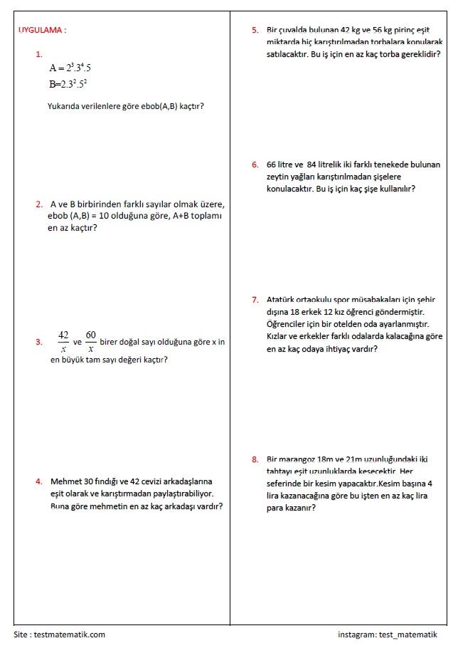 Carpanlar Ve Katlar Calisma Kagidi 2 Test Matematik