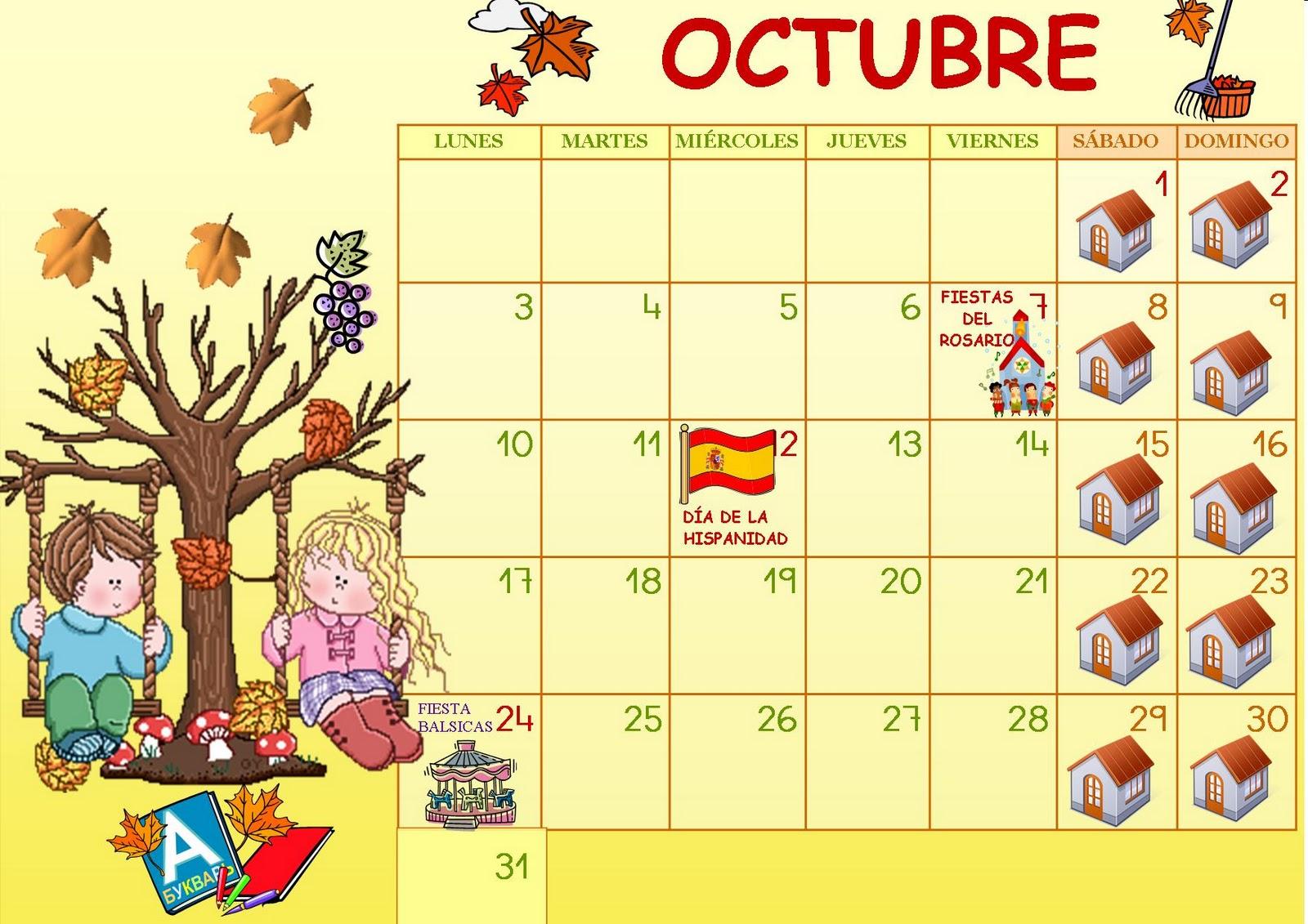 Octubre 2011: Juani Maestra Infantil: Calendario OCTUBRE 2011