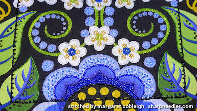 Bottom half of Wild Child prior to filling leaves with green beads. (Wild Child Japanese Bead Embroidery by Mary Alice Sinton)
