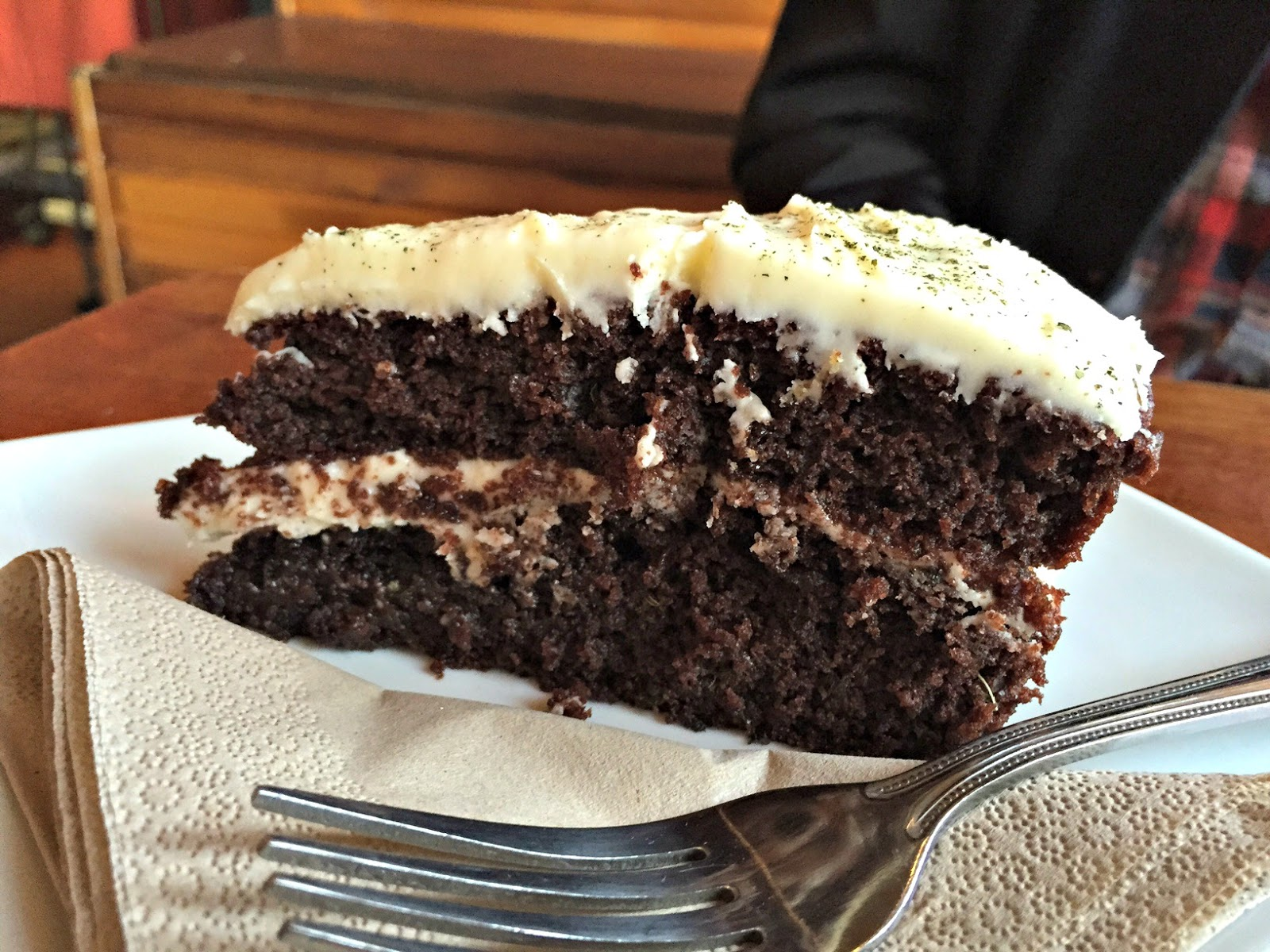 Vegan chocolate mint cake at Tea Sutra