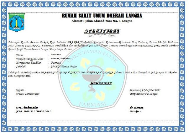 Contoh Sertifikat Praktik Kerja Dunia Industri (PRAKERIN) SMK
