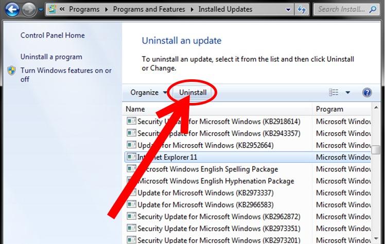 how do i uninstall and reinstall internet explorer 11 on windows 7