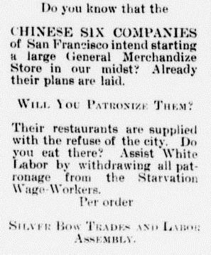 Anti-Chinese ad from The Weekly Tribune, Great Falls, November 4, 1892, page 7.