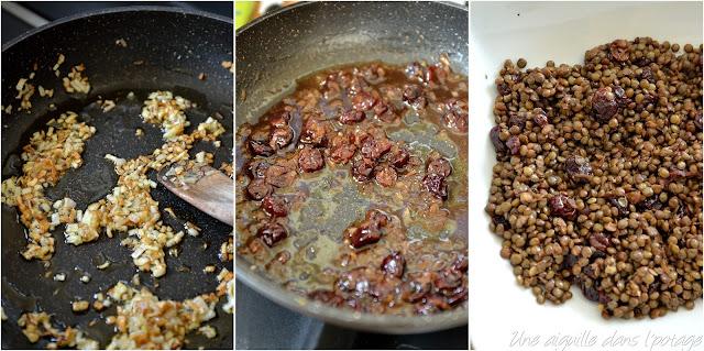 Lentilles du Puy aux griottes, lard fumé et gorgonzola (Yotam Ottolenghi)