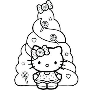 Colorear Hello Kitty con árbol navidad