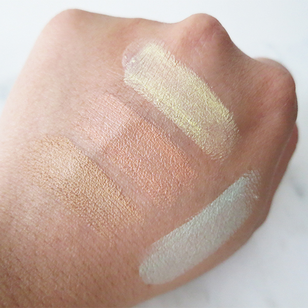Swatches of Dior Fix It Backstage Pros 2-in-1 Prime & Conceal in 025 Medium Beige, 200 Apricot, 300 Yellow, 400 Green