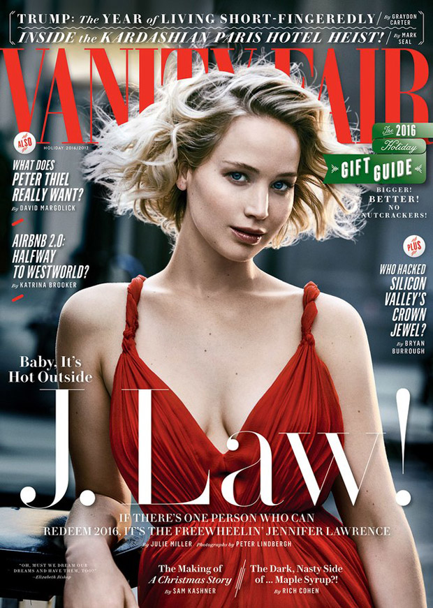 Jennifer Lawrence smoulders for Vanity Fair's Holiday 2016 edition