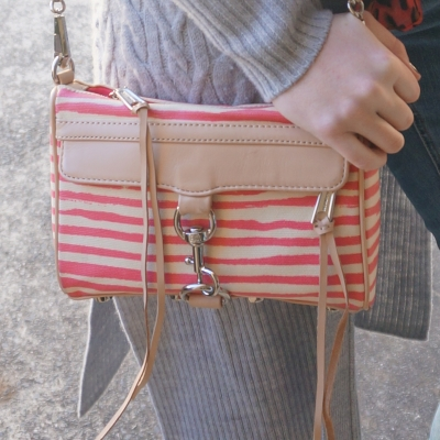 Rebecca Minkoff striped coated canvas mini MAC in berry stripe | AwayFromTheBlue