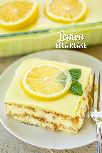 o-Bake Lemon Eclair Cake Recipe - lemon pudding, cool whip and graham crackers layered and topped with lemon frosting. It gets better the longer it sits in the fridge - it is just SO hard to wait to eat it. SOOO good. People go nuts over this easy dessert recipe! Great for parties and potlucks. There are NEVER any leftovers! #nobakedessert #dessert #lemon #nobake