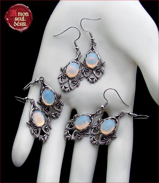 boucles d'oreilles pierre de lune bijoux elfiques blanc opale wicca mariage médiéval