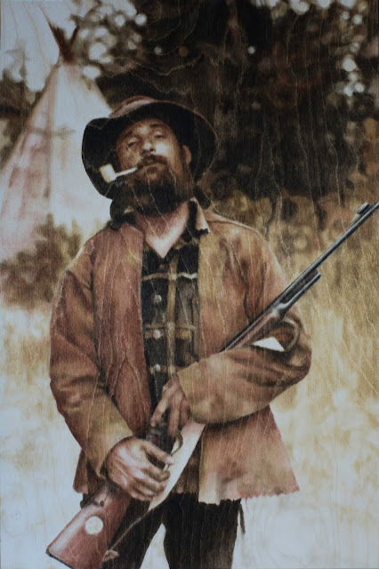 wood stain, finger painting, commission, calgary artist, guns, pipes
