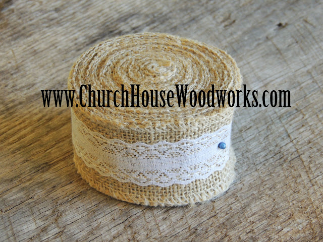 Jute Burlap Ribbon, 5 yards by 2 inches wide, Jute Burlap Trim Ribbon with Ivory Lace, Rustic Wedding decor, Burlap Supplies, Bows,