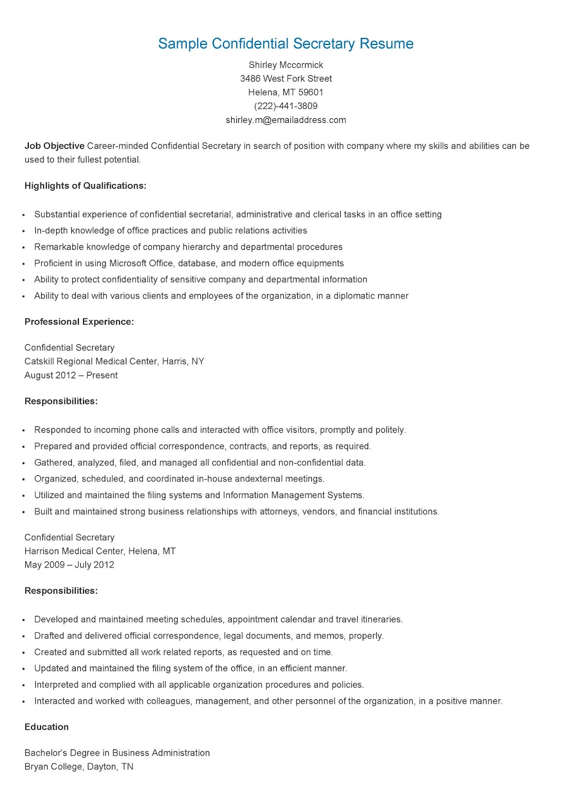 Secretary Skills Resume Resume Samples Confidential Secretary Resume Sample