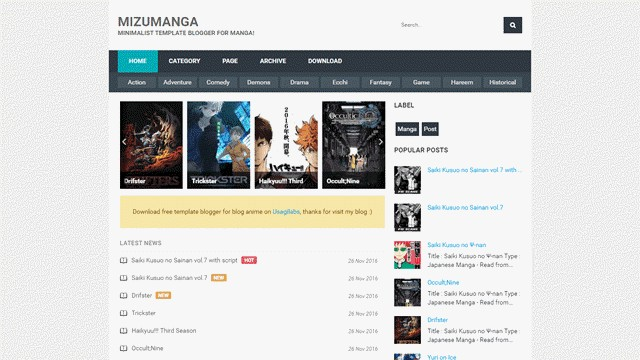 MizuManga Responsive Blogger Templates