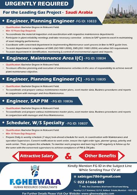 Jobs in Leading Sabic Gas Project : Saudi Arabia