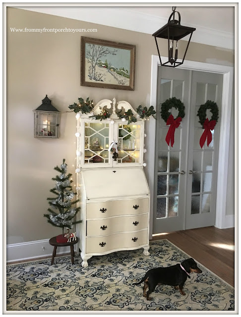 Farmhouse Christmas Decorations-French Farmhouse-French Country-Vintage Secretary- From My Front Porch To Yours