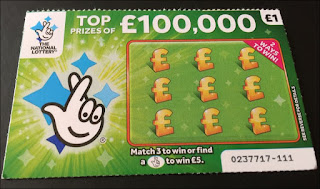Green £100,000 National Lottery Scratch Card (2018)