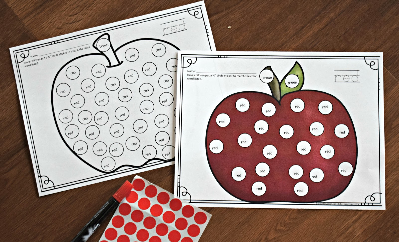 Fall Color Sticker Worksheets