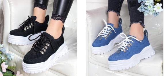 Sneakersi Ninon negri, albastri cu talpa groasa moderni
