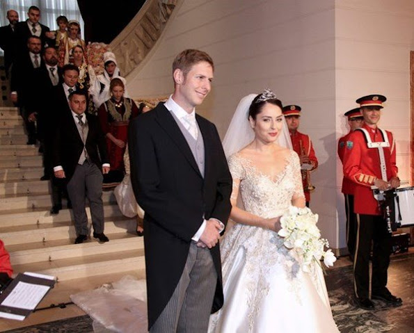 Prince Leka Zogu of Albania got married with singer Elia Zaharia in capital city Tiran, wedding ceremony wedding dresses wedding diamond tiara, royalty word royal family