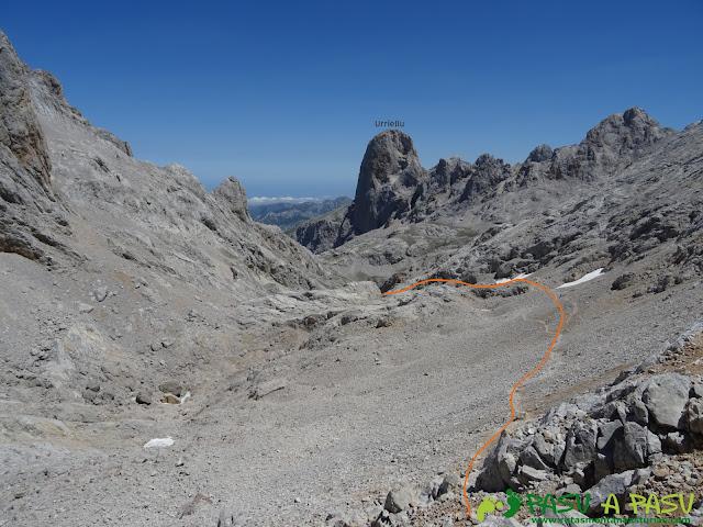 Camino a la Vega de Urriellu desde la Horcada de Caín