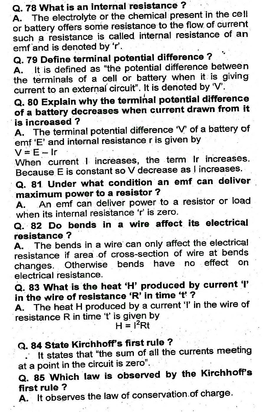 2nd Year Physics Chapter 13 Current Electricity Short Questions 9