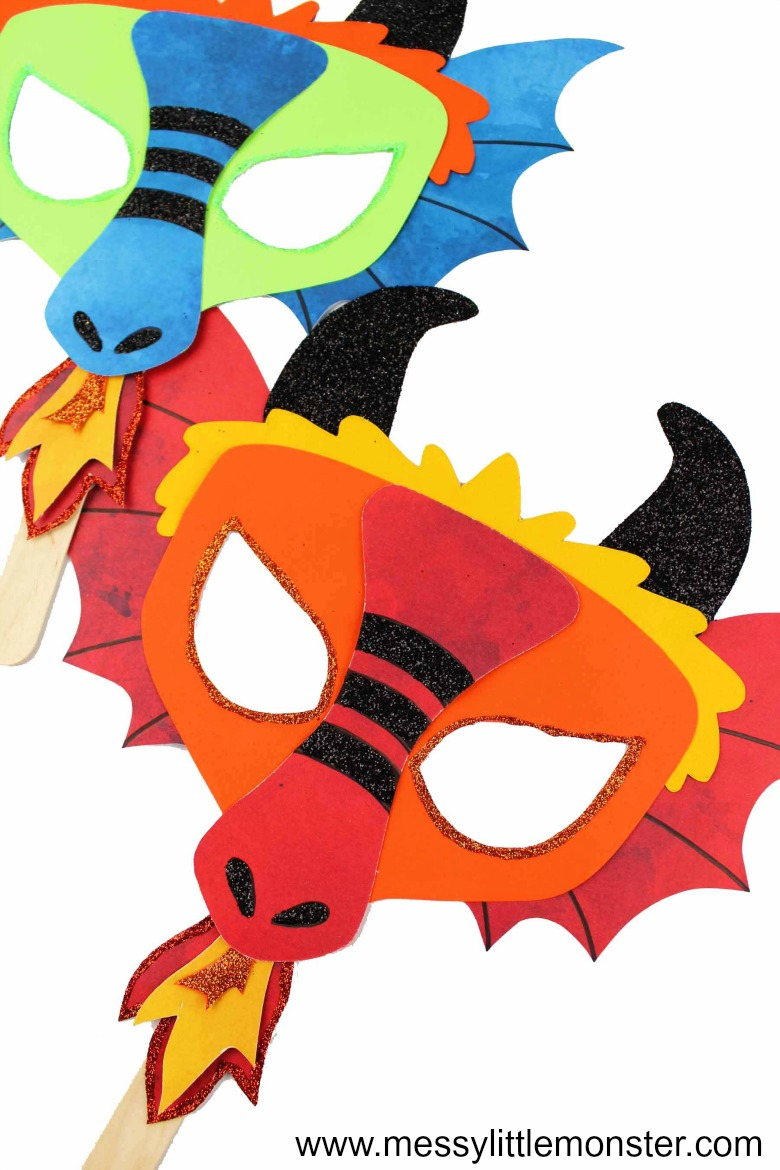 Dragon craft. Make a dragon mask using our free printable dragon mask template. Great as a chinese new year activity for kids.