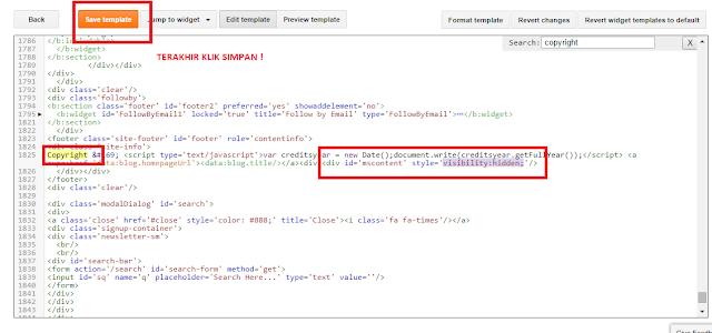 cari kode css - Trik Menghapus Credit Link Pada Template Berbayar