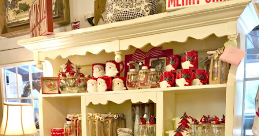 Beautiful White Painted Christmas Hutch