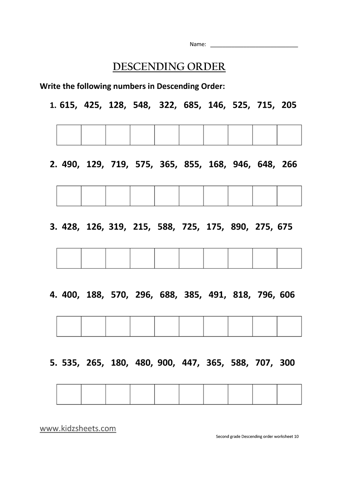 Kidz Worksheets Second Grade Descending Order Worksheet10
