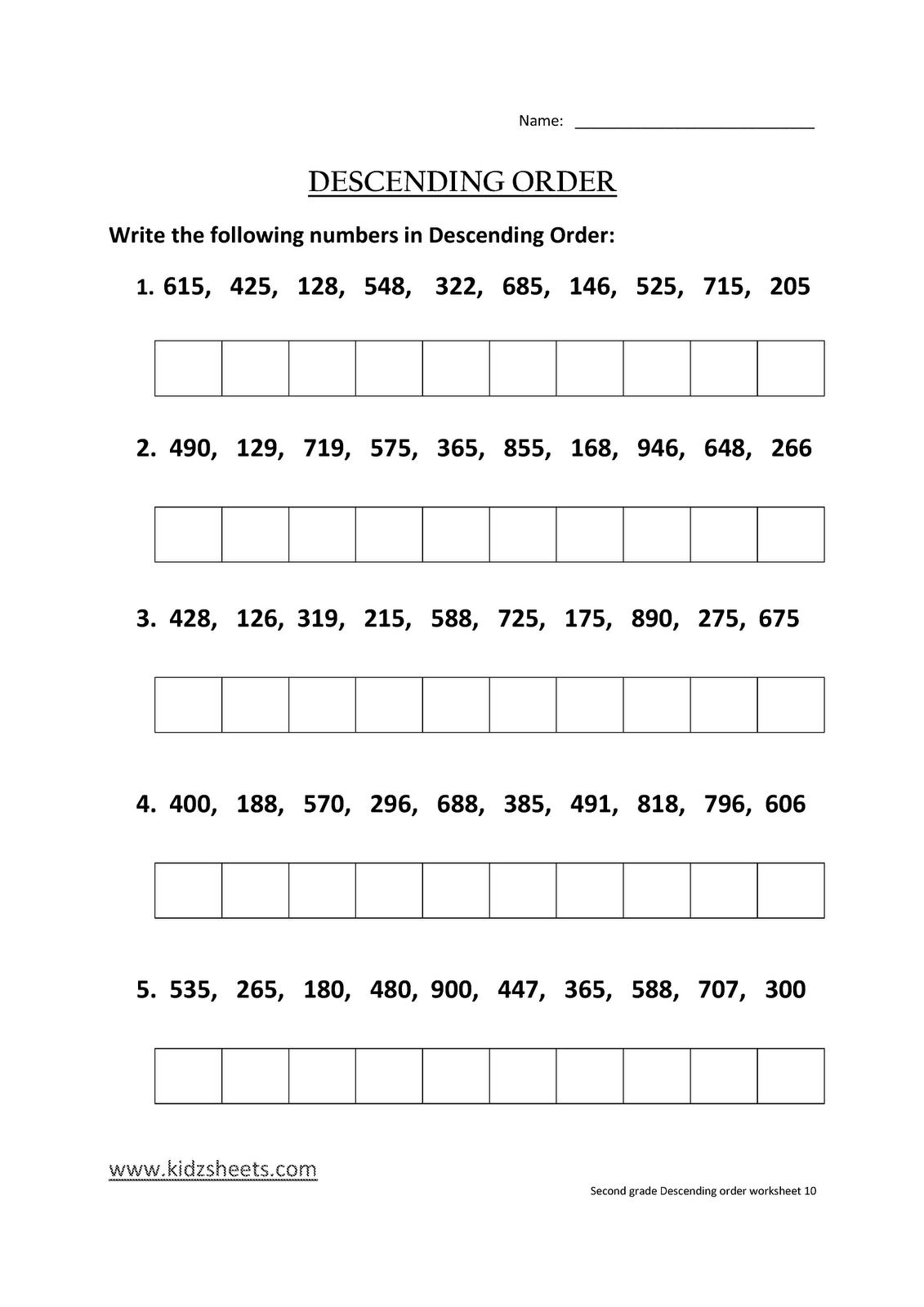 Kidz Worksheets Second Grade Descending Order Worksheet10