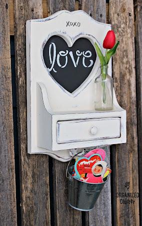 Upcycled Thrift Shop Heart Cutout Shelf
