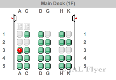 JAL 767-300ER Business Class old style seat map for A41 configuration.