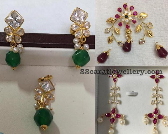 5 Grams Simple Pendant and Earrings