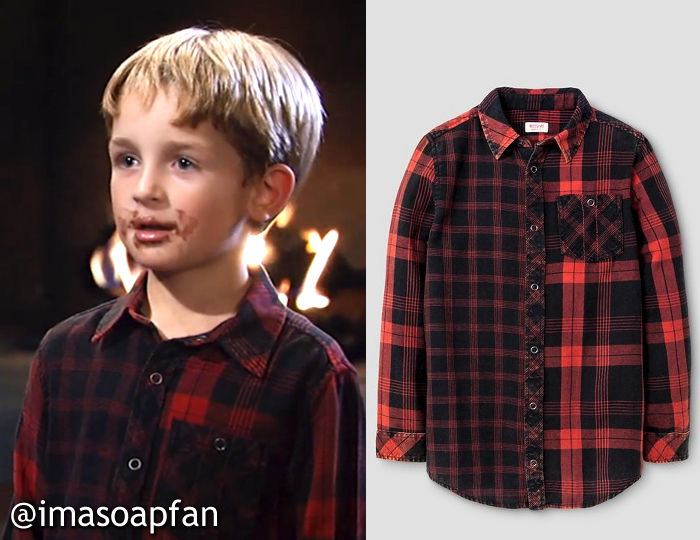 Red and Black Mixed Plaid Shirt, Rocco Falconeri, Mason Tannous, General Hospital, GH, Mossimo Supply Co. Clothing
