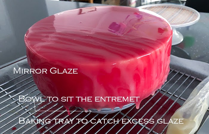 Mirror glazed Honey, Raspberry and White Chocolate Bavarois image