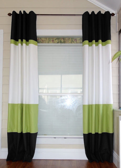 black, green and white window curtains