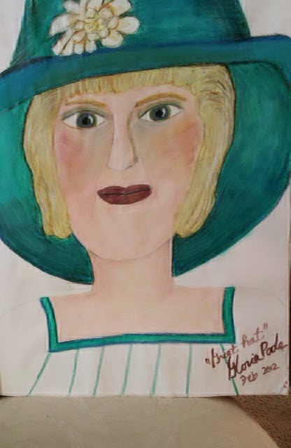 """Great Hat"" sketch by Gloria Poole; acrylics; year 2012"