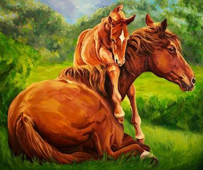 caballos-modernos-al-oleo