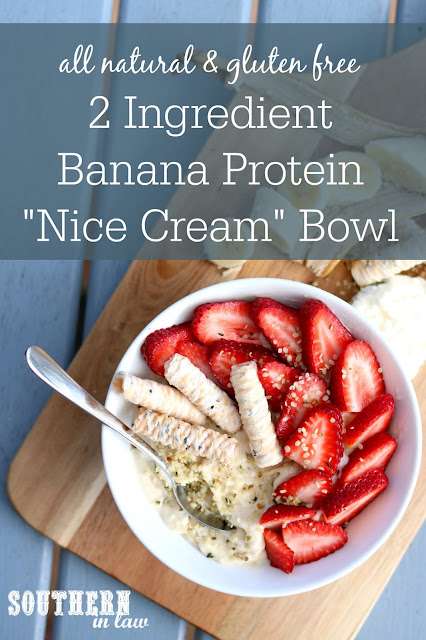 All Natural 2 Ingredient Banana Protein Nice Cream Bowl Recipe - gluten free, all natural, sugar free, clean eating friendly, no protein powder, low fat, clean eating recipe, healthy
