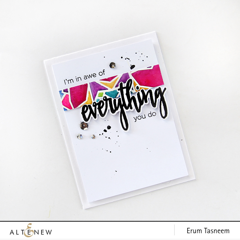 Altenew Layered Kaleidoscope Stencil - B and Halftone Everything. Card by Erum Tasneem - @pr0digy0
