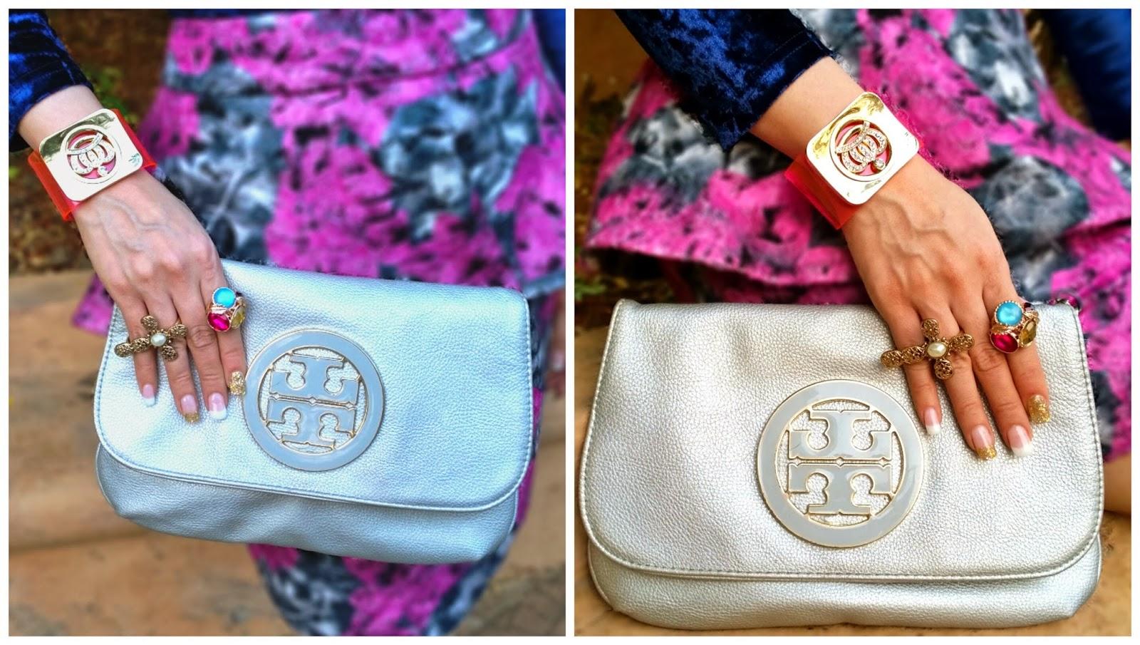 Silver Tory Burch Clutch & Pink Perspex Cuff Bracelet