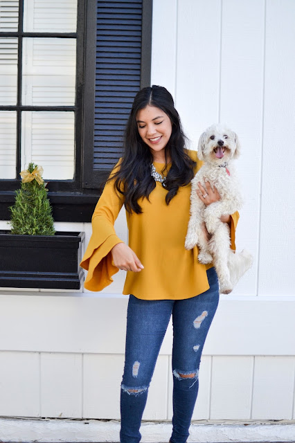 Gozon Mary Solid Ruffle Top - Mustard
