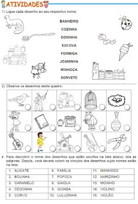 Atividades com palavras que têm as famílias silábicas do F ou V, C ou G, NH